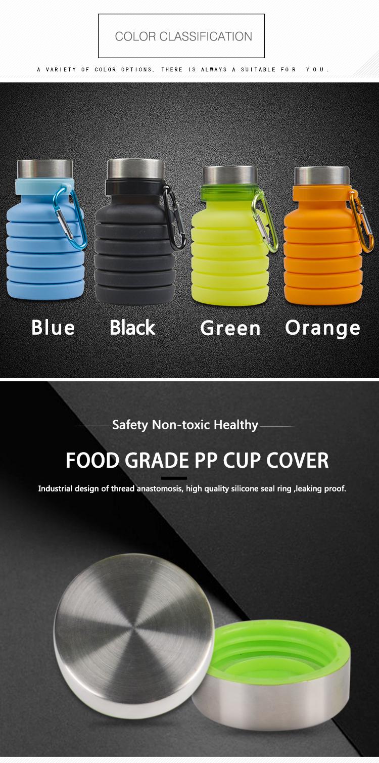 Hohe Qualität BPA FREI LFGB Silikon Sport Gym Faltbare Faltbare Flasche Wasser
