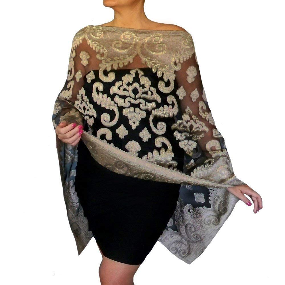 8ab2775b849 Get Quotations · Plus Size Dark Gold Shawl Sheer Black Organza Evening Wrap  Wedding Stole By ZiiCi