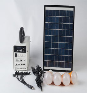 New Style Portable Small Emergency 10w Home Lighting Rechargeable Battery Solar Panel System With 4 set Bulb FM Radio