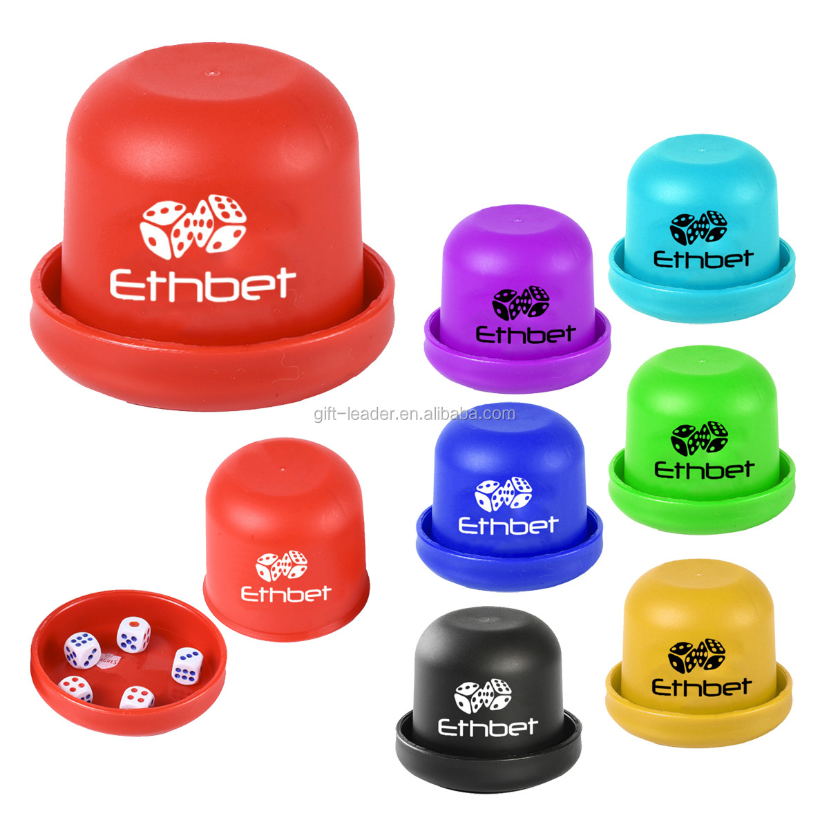 Classic promotion gift small blank logo portable cheap smart plastic play game toys gamble dice cup set shaker 5 pcs dice box