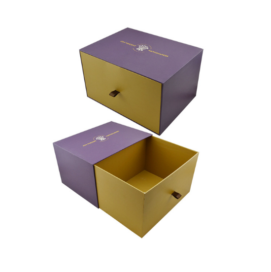 China Supplier Custom Logo Sliding Out Drawer Box Printed Color Box Jewelry Scarf Gift Box General Paper Packaging with Ribbon