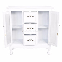 Antique white double glass sliding door lowes storage cabinets for home & office furniture