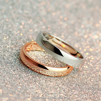 Lovely Gold Plated Simple Wedding Ring Set Without Stones, Classic Plain Engagement  Ring