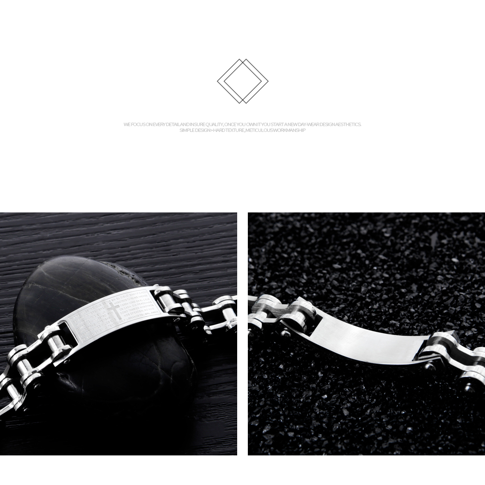 Superior Quality Custom Metal Jewelry Silver Engraved Stainless Steel Bracelet