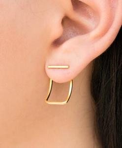 Zooying  silver minimal square front back Earring  gift for women