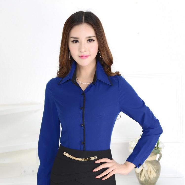 Formal camisas azules mujeres trabajan blusas de manga