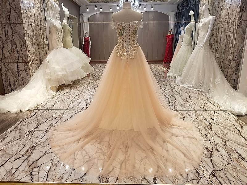 Ls55479 Off Shoulder Heavy Lace Wedding Gown Layers Beads Modest ...