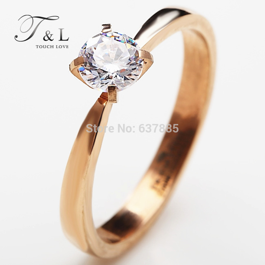 0.5ct zircon CZ Wedding ring.18K rose gold plated stainless steel Finger Rings. Women jewelry. Buy 2,get 1 more free.