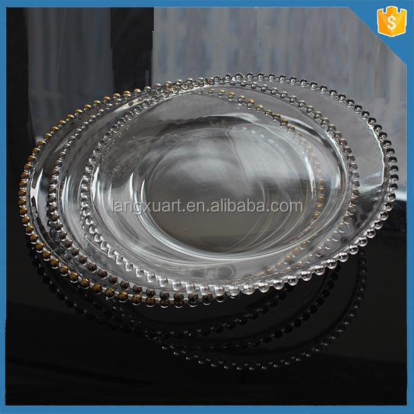 Wedding 13 inch glass gold&silver beaded charger <strong>plates</strong>