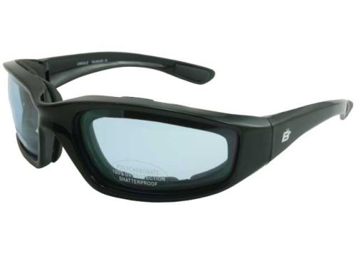 c3ae0313d54 Get Quotations · Birdz Oriole Motorcycle Cycling Airsoft Padded Glasses  Light Blue Tint Lenses and Shiny Black Frame Has