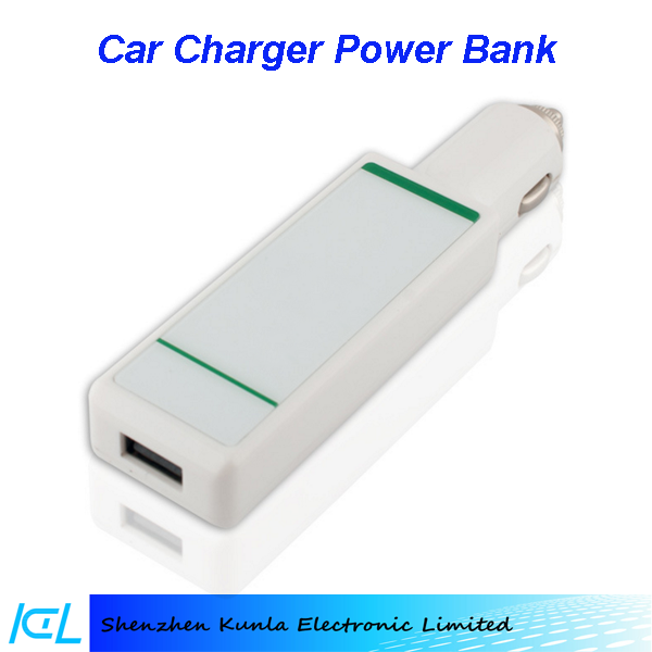 2016 hot sales new design 2 in 1 2000mAh car charger power bank for Iphone 4s/5s/6s, Vivo x6, smartisan T1/T2