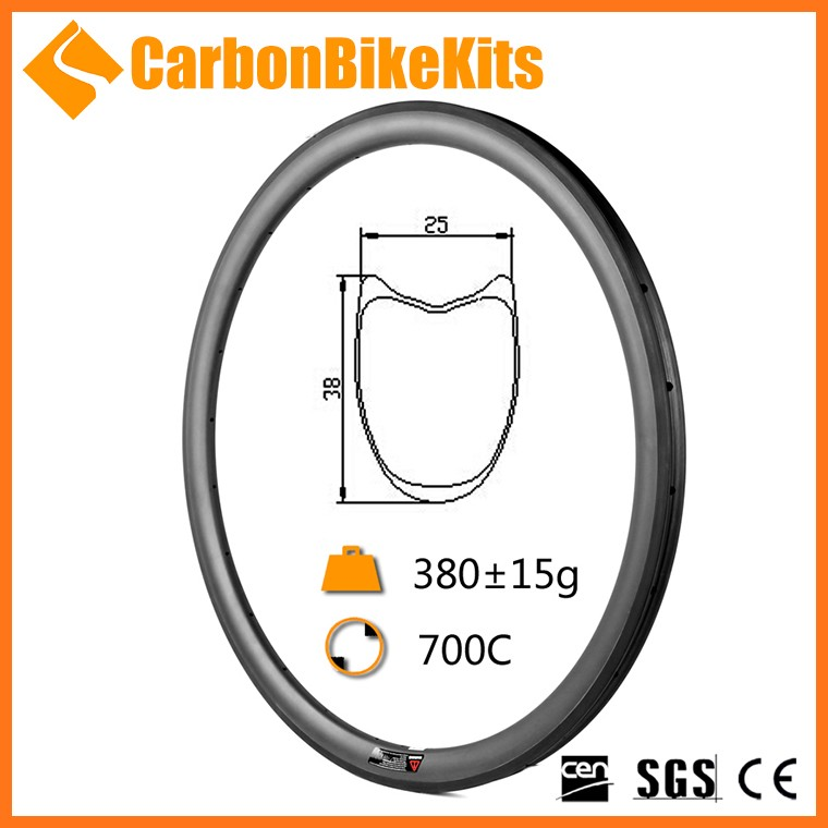 100% Toray Full carbon CarbonBikeKits 23mm wide 38mm deep tubular carbon bicycle rim 700c 36h 20/24 WR38T