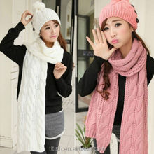 Winter Girls New Hot Fashion Knit Neck Long Scarf Wrap Shawl Stole Scarves Hat
