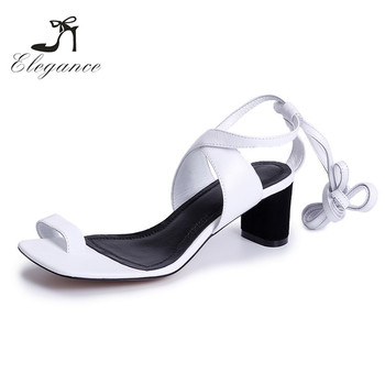 aa2668e4bb9 Rome Strappy Lace Up Toe Ring Block White Chunky Heels Casual Sandals