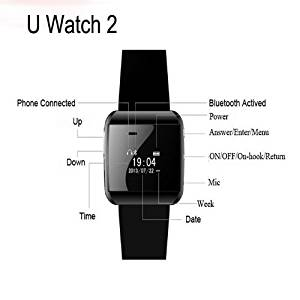 Waterproof LED Display U-Watch 2s Bluetooth Smart Dial Wrist Timer Clock Phone Mate(black)