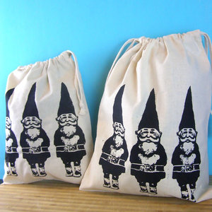 Farmers Produce Bags, Gnomes Reusable Market DrawString Bags