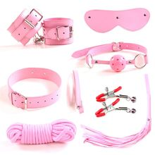 Most popular SM game pink leather bdsm bondage slave kit