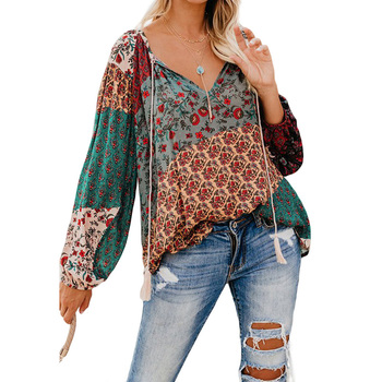 Women Blouses Casual Loose Floral Print V Neck Long Sleeve Shirts Blouses Women Tops