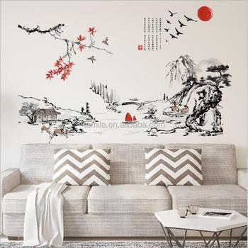 Chinese Kalligrafie Stijl Lotus Muurstickers Woonkamer Slaapkamer ...