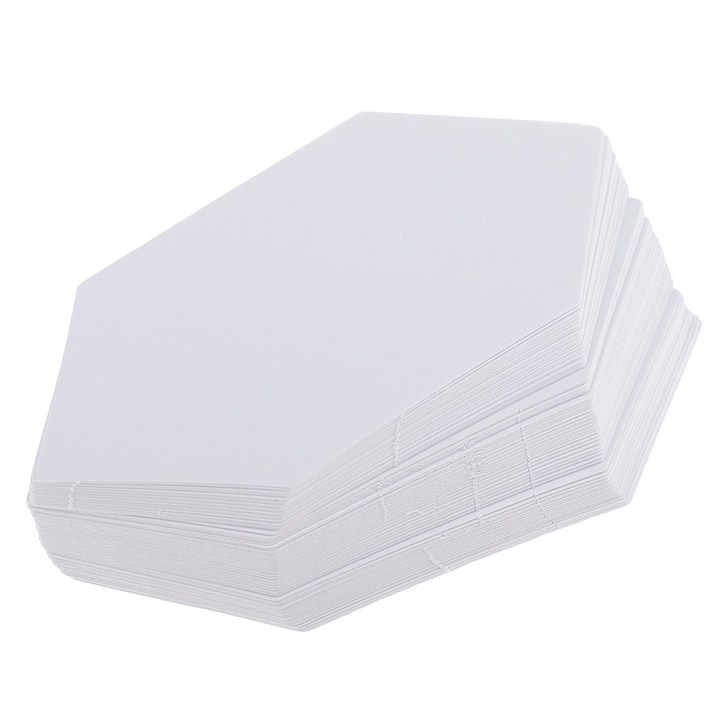 Jili Online 100 Pieces Hexagon Shape Round Paper Quilting Template for Patchwork Sewing Crafts White - 7.9cm