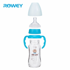 240ml Safe Kids Transparent Baby Natural Rubber Feed Avent Glass Bottle Nipple