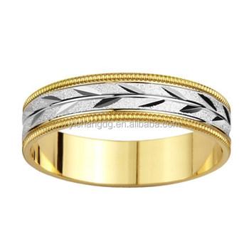 Gold Mens Leaf Design Wedding Band Jewelry Custom Energy Boy Rings