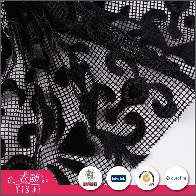 Low price customized polyester mesh laser cut embroidery fabric