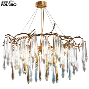 Modern large LED dimmable luxury crystal chandelier for penthouse hotel