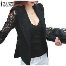 Fashion 2015 Hot Sale Coat Sexy Sheer Lace Blazer Lady Suit Outwear Women OL Formal Slim Jacket Black White Plus Size S-3XL