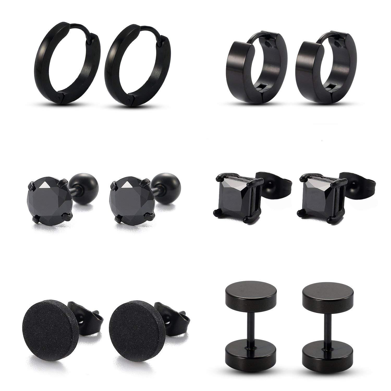 Get Quotations Ogemluv 6 Pairs Stainless Steel Cz Stud Earrings For Men Women Huggie Hoop Gauge Fake