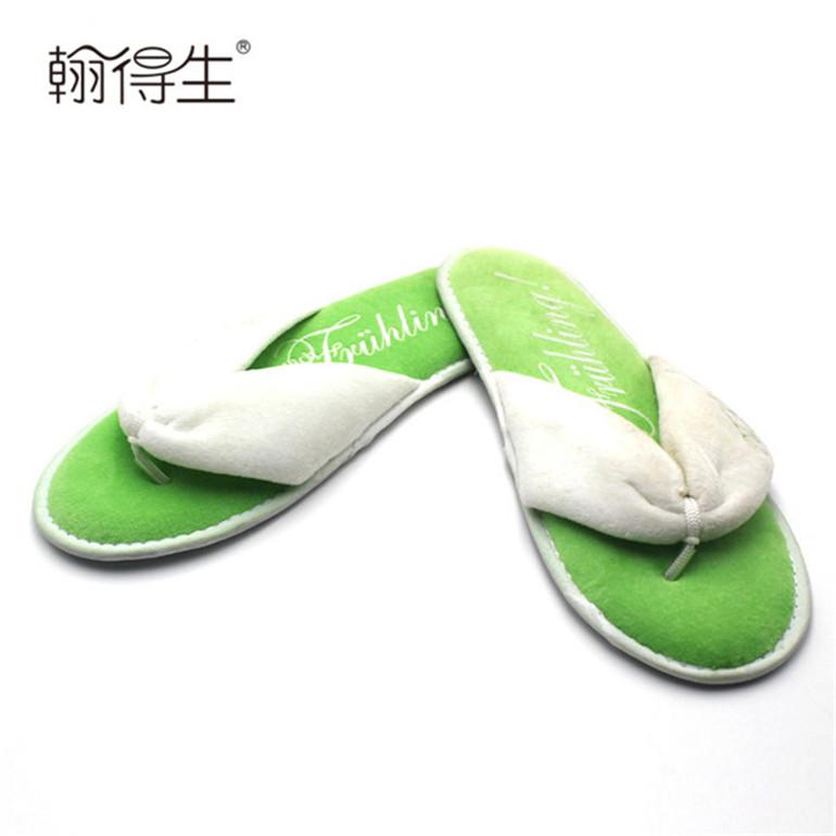 Wholesale cotton velour branded hotel thong slipper