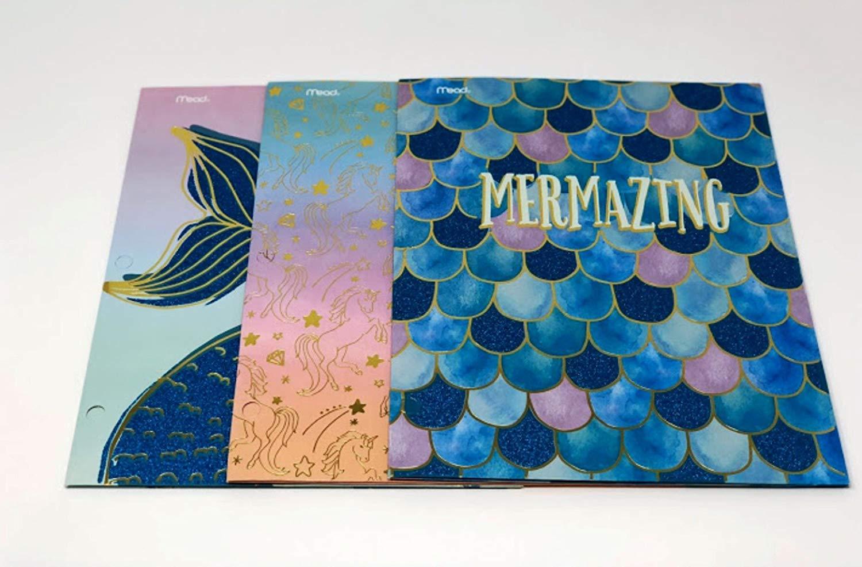 Mead Mermazing Mermaid & Unicorn Glitter Portfolio Folders - Pack of 3