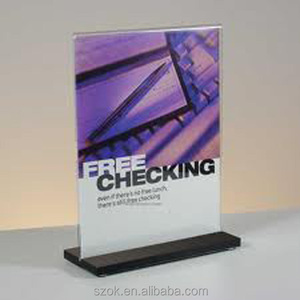 clear acrylic simple design a4 sign display holder with black base wholesale