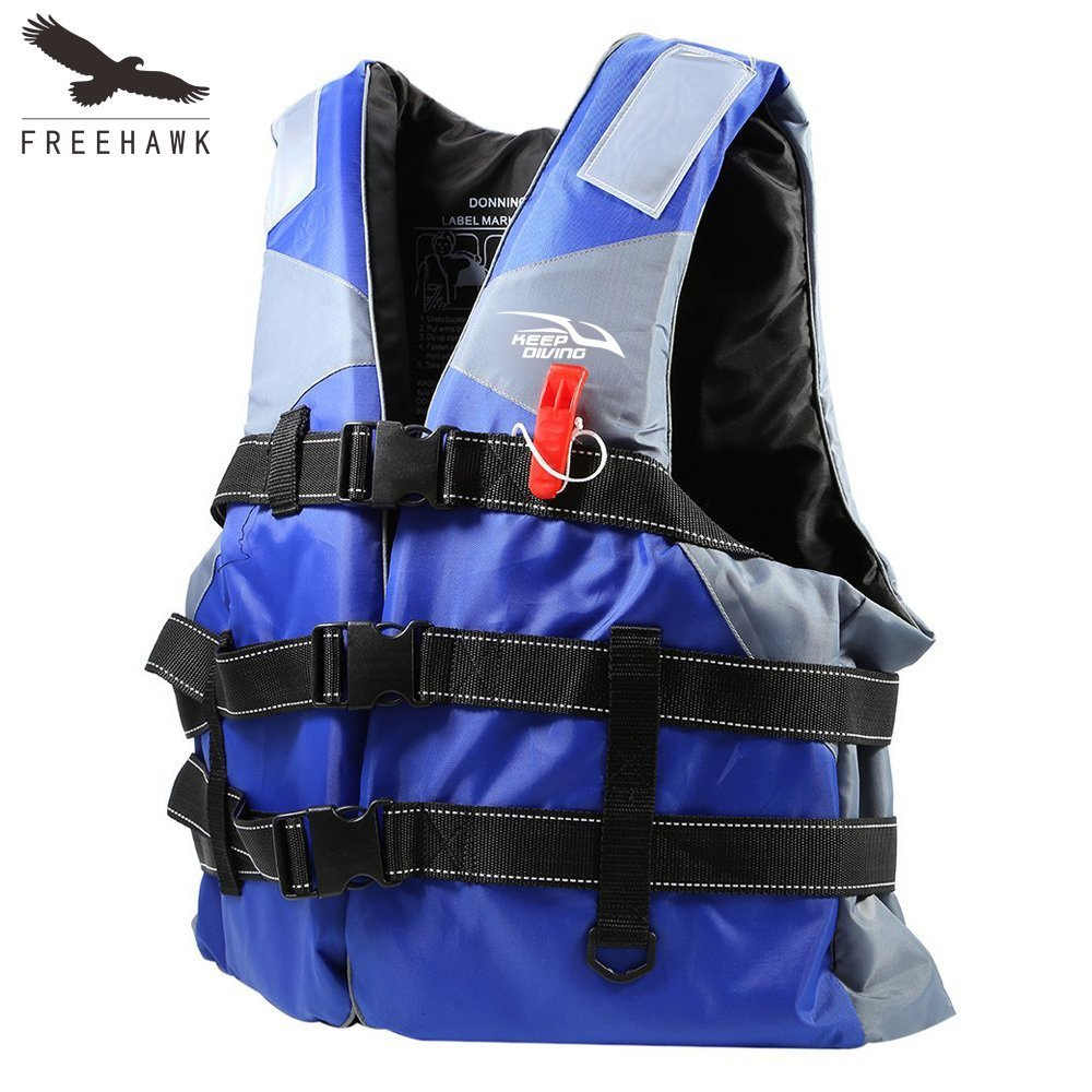 Life Jacket/Life Vest/Personal Floatation Device with Whistle/Inflectors,Freehawk® Unisex Men/Women Inflatable Adjustable Comfort All Purpose Life Boating Vest Water Sports Ski Vest Buoyancy