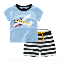 Summer print short sleeve t shirt sets cotton baby boys clothes