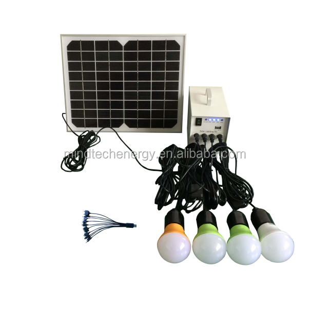 solar home lighting system with 10W solar panel and rechargeable battery portable solar power system/LED lighting <strong>kits</strong>
