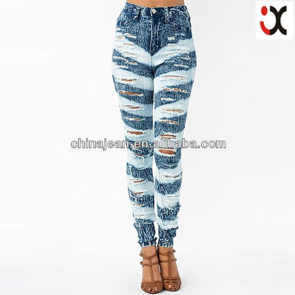2017 high quality big destroyed women jeans ripped jeans for high fashion women shredded jeans JXL20608