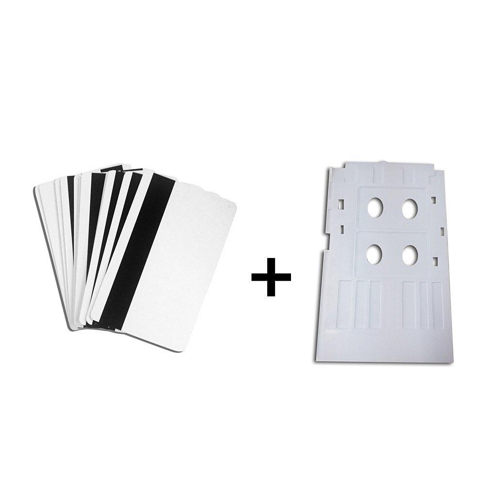 Inkjet PVC ID Card Starter Kit - HiCo Mag Strip Inkjet PVC ID Card + White Plastic Inkjet PVC ID Card Tray for Epson L800 L801 (50)