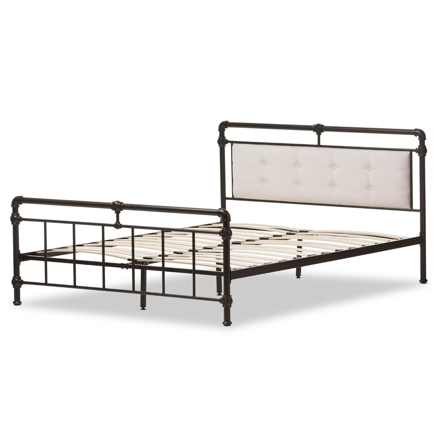 Baxton Studio Westcott Modern Classic Dark Bronze Finishing Metal and Light Beige Microfiber Fabric Platform Bed, Queen