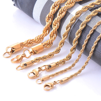 New Model Twist Rope Chain Necklace Stainless Steel Womens Mens Chain Necklace 16-30 Inch