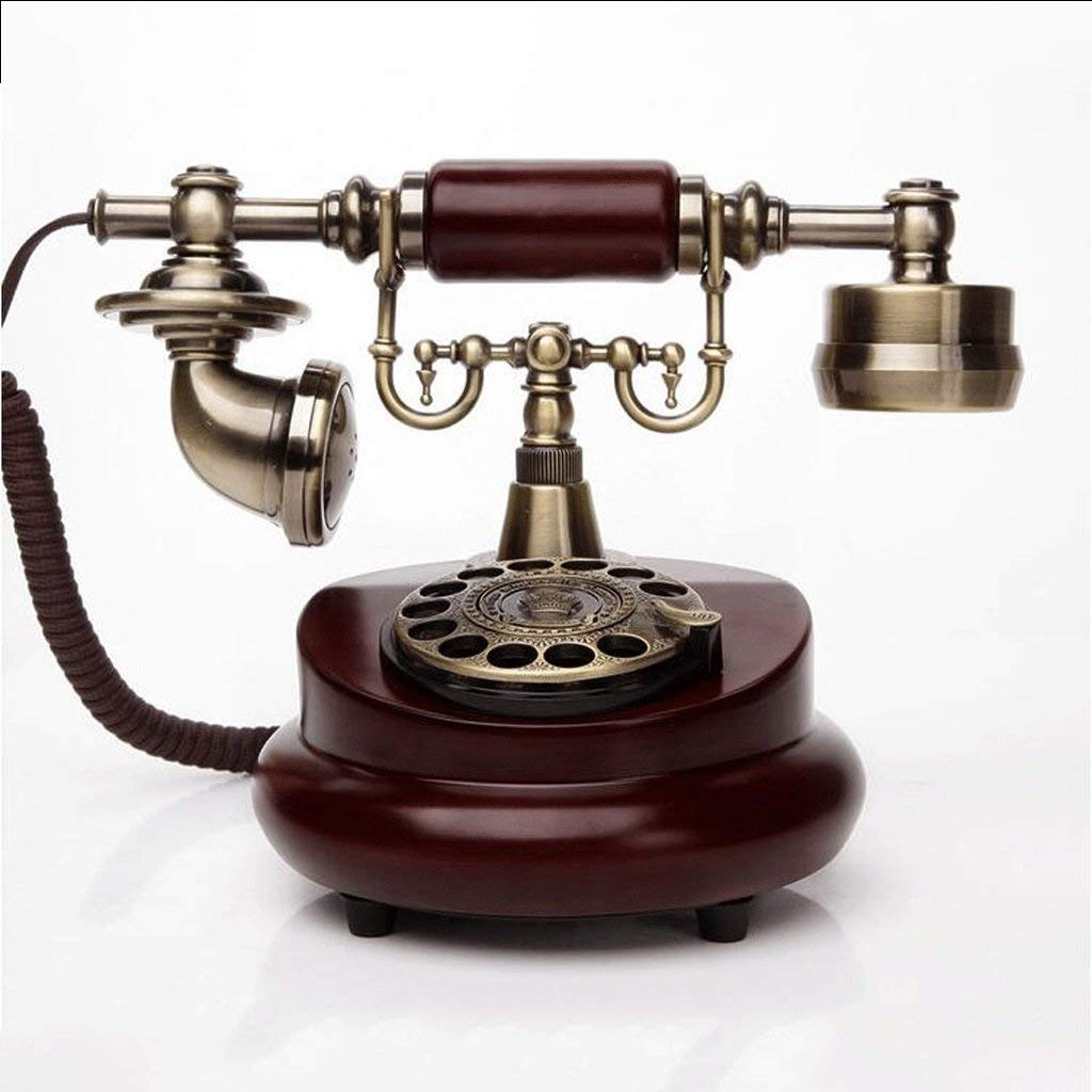 ZYN Metal and Wooden Rotary Dial Antique Phone Vintage Cloth Rope European Living Room Bedroom Retro Fixed Phone Mechanical Ringtones