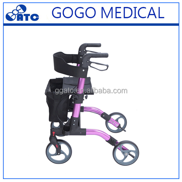 Aluminum folding old man stick elderly rollator walker with seat