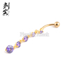 Gold Plated Navel Rings with Purple Crystal Hanging Navel Piercing