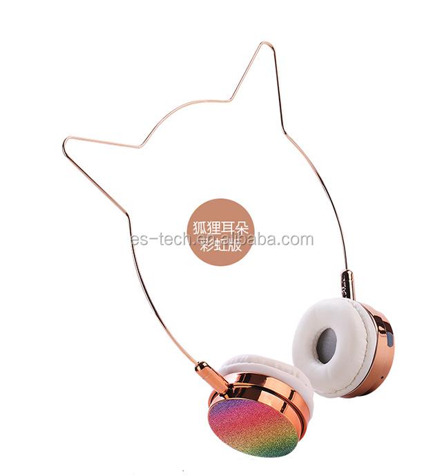 bluetooth 5.0 cat ear headphone lovely headphone rose gold