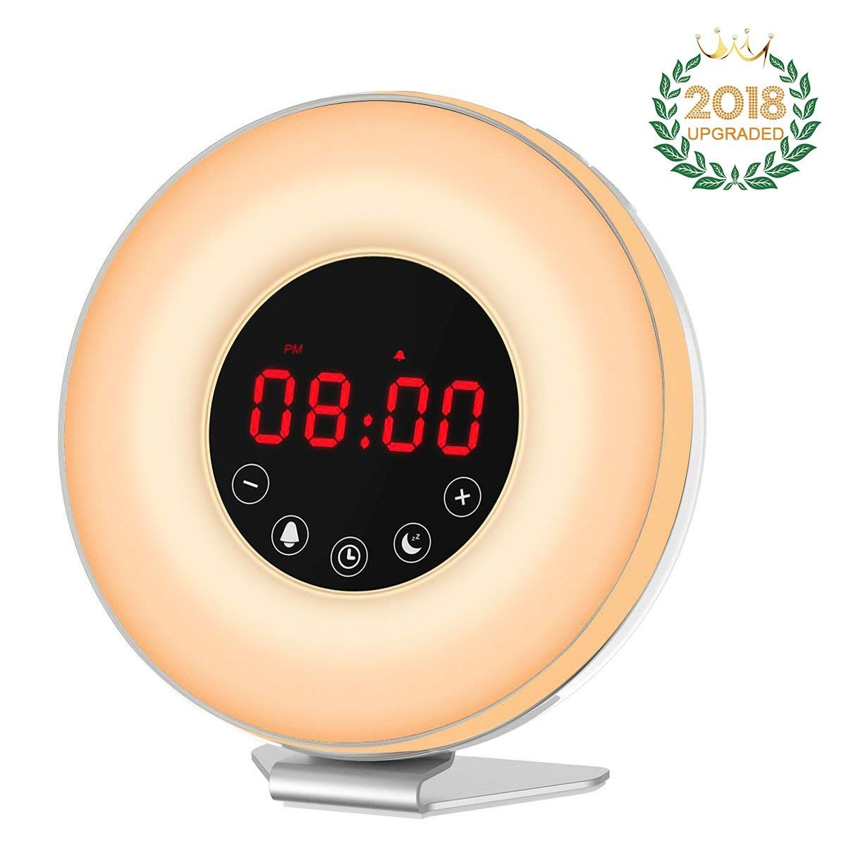 Wake Up Light Alarm Clock with Sunrise Sunset Simulation-7 Color&6 Natural Sounds&FM Radio【2018 UPGRADED】Digital Clock for Bedrooms-Touch Control&Snooze Function for Heavy Sleepers