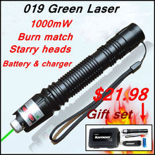 [RedStar]019 Laser Gift set 1000mW green laser pointer starry image light match  include 18650 battery and charger