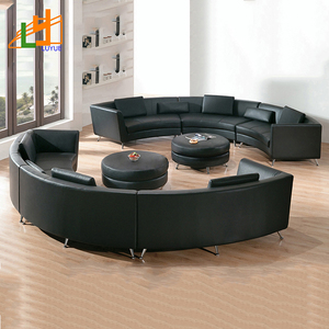hot sale fashion design wooden frame 6 seater sofa set c shaped curved genuine leather modern sectional sofa