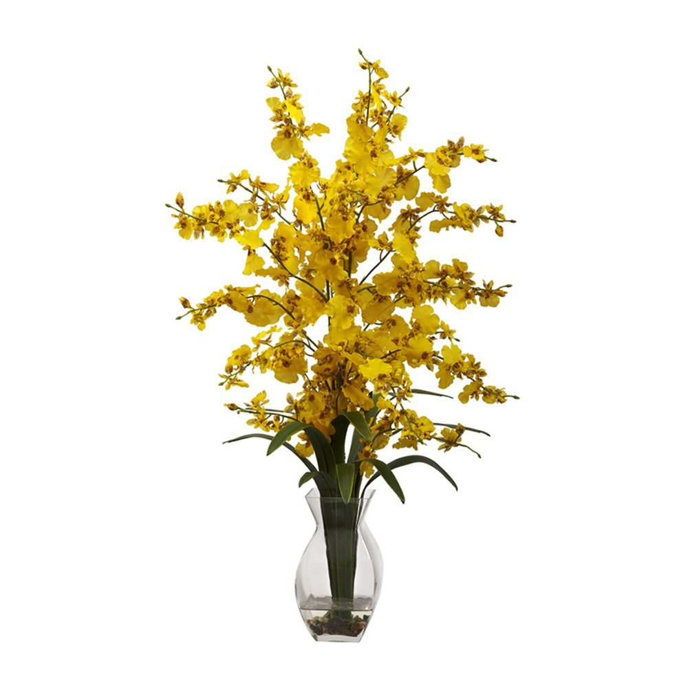 Nearly Natural Home Indoor Decorative Tabletop Dancing Lady Orchid With Vase Arrangement Yellow