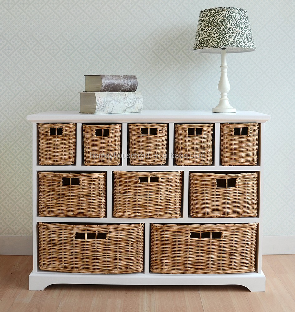 10 Wicker Baskets Storage Shelf Bedroom Furniture Set Wooden Drawer Cabinet