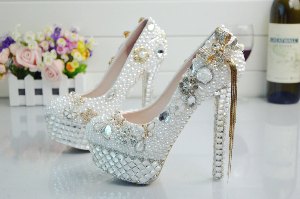 BS017 rhinestone shoe with bride crystal bowknot costly genuine waterproof tassels leather shoes pearl shoes wedding rqwYarB